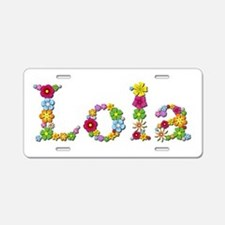 Lola Bright Flowers Aluminum License Plate