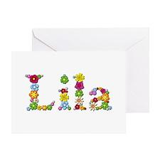 Lila Bright Flowers Greeting Card