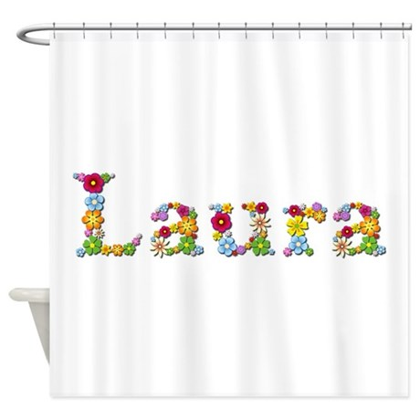 laura bright flowers shower curtain by namestuff