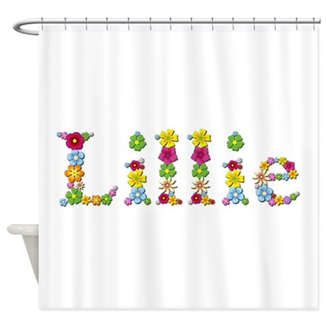 lillie bright flowers shower curtain by namestuff