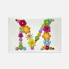 M Bright Flowers Rectangle Magnet