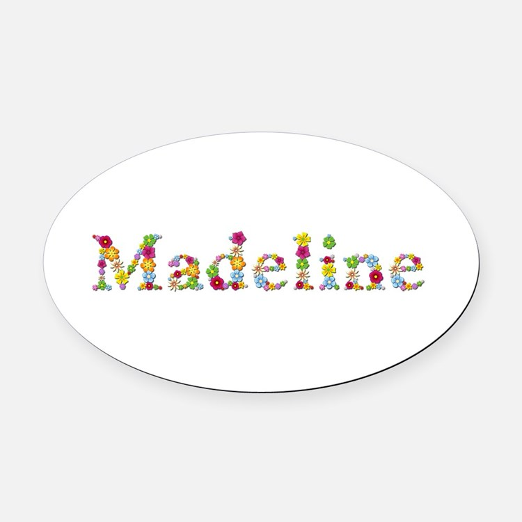 Madeline Bright Flowers Oval Car Magnet