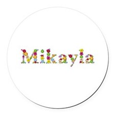 Mikayla Bright Flowers Round Car Magnet