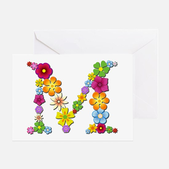 M Bright Flowers Greeting Card