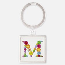 M Bright Flowers Square Keychain