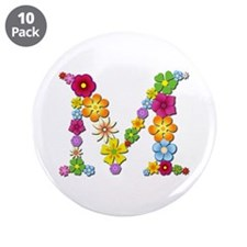 M Bright Flowers Big Button 10 Pack