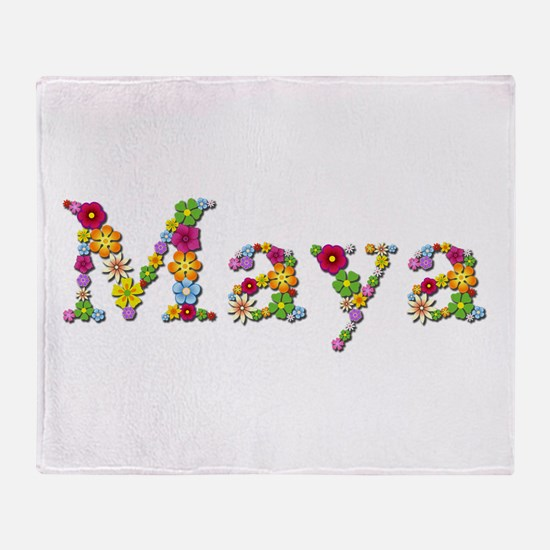 Maya Bright Flowers Throw Blanket