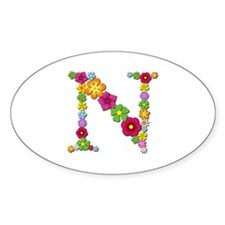 N Bright Flowers Oval Decal