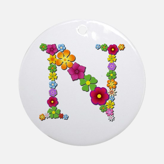 N Bright Flowers Round Ornament