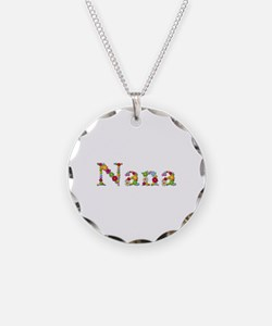 Nana Bright Flowers Necklace Circle Charm