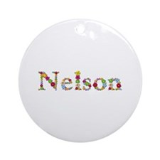 Nelson Bright Flowers Round Ornament