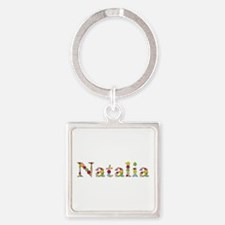 Natalia Bright Flowers Square Keychain