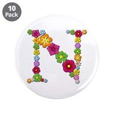 N Bright Flowers Big Button 10 Pack