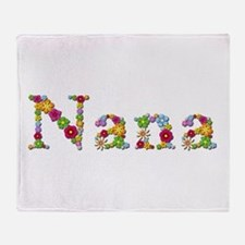 Nana Bright Flowers Throw Blanket