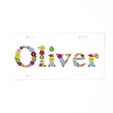 Oliver Bright Flowers Aluminum License Plate