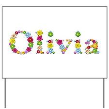 Olivia Bright Flowers Yard Sign