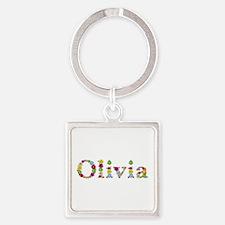 Olivia Bright Flowers Square Keychain