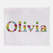 Olivia Bright Flowers Throw Blanket
