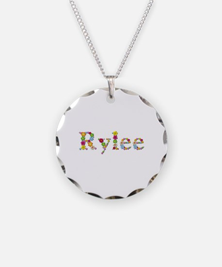 Rylee Bright Flowers Necklace Circle Charm