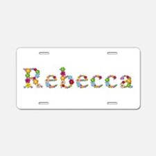 Rebecca Bright Flowers Aluminum License Plate