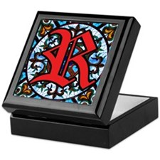 Stained Glass R Keepsake Box