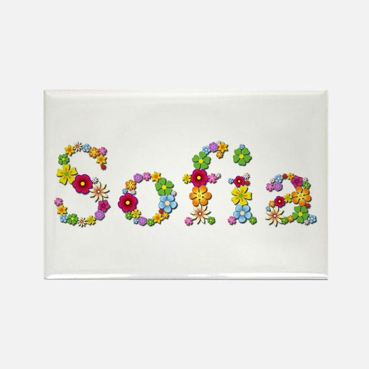 Sofia Bright Flowers Rectangle Magnet