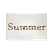 Summer Bright Flowers Rectangle Magnet