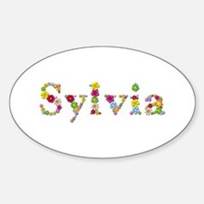 Sylvia Bright Flowers Oval Decal