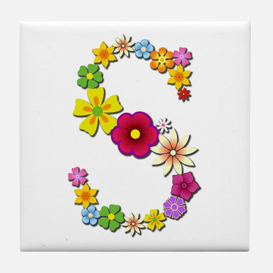 S Bright Flowers Tile Coaster