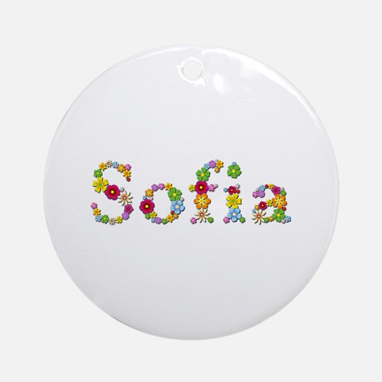 Sofia Bright Flowers Round Ornament