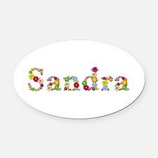Sandra Bright Flowers Oval Car Magnet