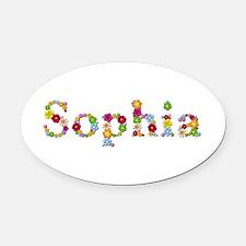 Sophia Bright Flowers Oval Car Magnet