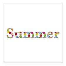 Summer Bright Flowers Square Car Magnet
