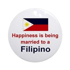 Happily Married To A Filipino Keepsake Ornament