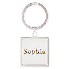 Sophia Bright Flowers Square Keychain