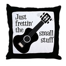 Frettin 2, black uke Throw Pillow