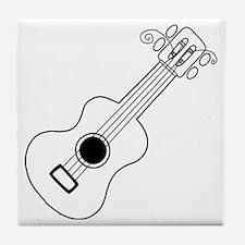 Frettin white uke on black Tile Coaster