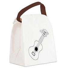 Frettin white uke on black Canvas Lunch Bag