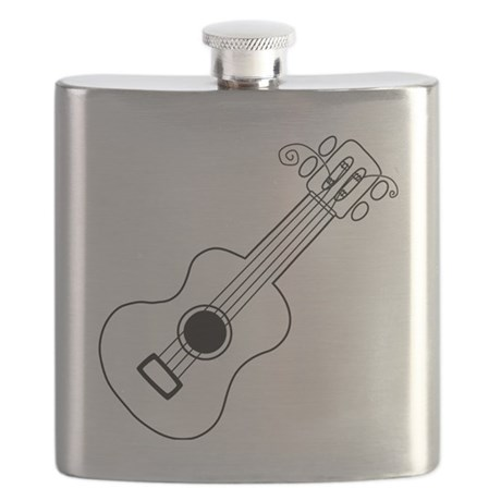 Frettin white uke on black Flask