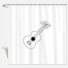 Frettin white uke on black Shower Curtain
