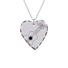 Frettin white uke on black Necklace Heart Charm