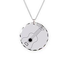 Frettin white uke on black Necklace Circle Charm