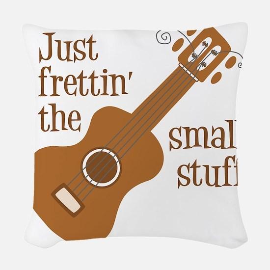 Frettin tan uke Woven Throw Pillow