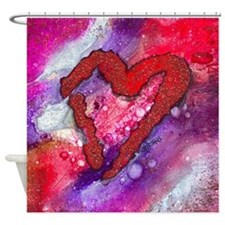 Red Heart with a Splash! Shower Curtain