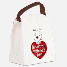 Puppy Dog 1st Valentine's Day Canvas Lunch Bag