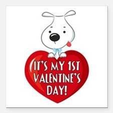 """Puppy Dog 1st Valentine's Day Square Car Magnet 3"""""""