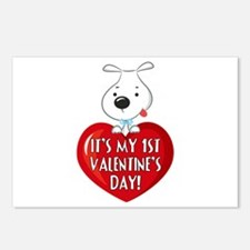 Puppy Dog 1st Valentine's Day Postcards (Package o