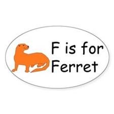F is for Ferret Oval Decal