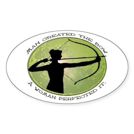 women's archery competition Oval Sticker
