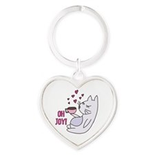 Cat With Coffee Heart Keychain